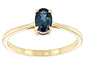 Blue Lab Created Alexandrite 10k Yellow Gold Ring 0.40ct