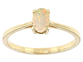 Multicolor Opal 10k Yellow Gold Ring 6x4mm