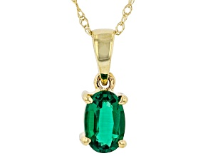Green Lab Created Emerald 10K Yellow Gold Pendant With Chain 0.32ct