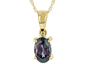 Blue Lab Created Alexandrite 10K Yellow Gold Pendant With Chain 0.40ct