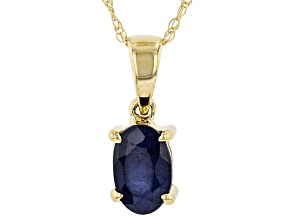 Blue Sapphire 10K Yellow Gold Pendant With Chain 0.48ct