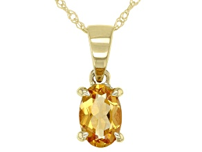 Yellow Citrine 10k Yellow Gold Pendant With Chain 0.34ct