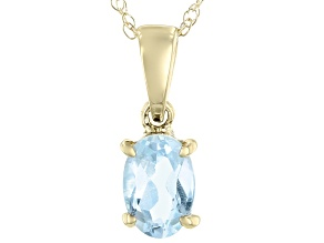 Blue Topaz 10k Yellow Gold Pendant With Chain 0.43ct