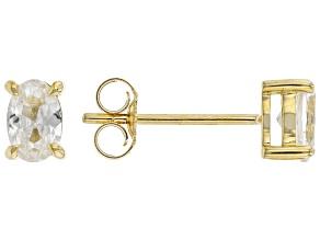 White Zircon 10K Yellow Gold Solitaire Stud Earrings 1.15ctw