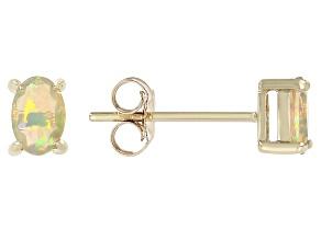 Multicolor Ethiopian Opal 10k Yellow Gold Stud Earrings 0.42ctw