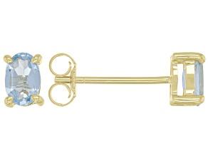 Blue Topaz 10k Yellow Gold Stud Earrings 0.92ctw