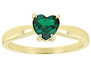 Green Lab Created Emerald 10k Yellow Gold Ring .50ct