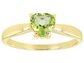 Green Manchurian Peridot(TM) 10k Yellow Gold Ring .65ct