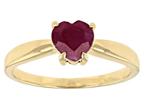 Red Ruby 10k Yellow Gold Ring .75ct