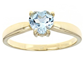 Sky Blue Topaz 10K Yellow Gold Solitaire Heart Ring 0.75ct