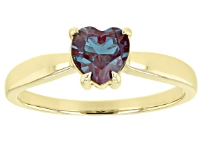 Blue Lab Created Alexandrite 10k Yellow Gold Ring .87ct