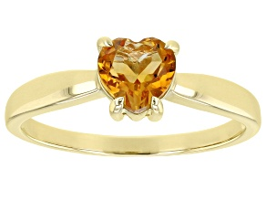 Yellow Citrine 10k Yellow Gold Solitaire Ring .60ct
