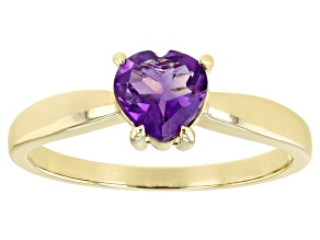 Purple Amethyst 10k Yellow Gold Solitaire Ring .55ct