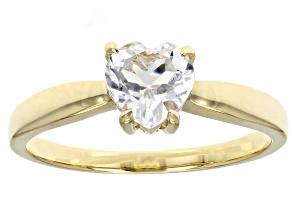 Heart Shaped White Topaz 10k Yellow Gold Heart Ring 0.75ctw