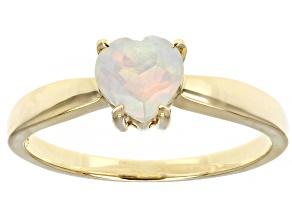 Heart Shaped Ethiopian Opal 10k Yellow Gold Heart Ring 0.30ctw