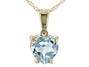 Sky Blue Topaz 10k Yellow Gold Pendant With Chain .75ct