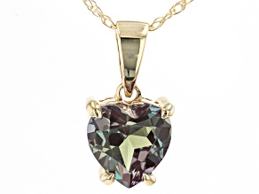Blue Lab Created Alexandrite 10k Yellow Gold Pendant With Chain .88ct
