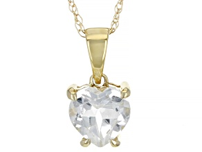 White Topaz 10K Yellow Gold Pendant With Chain 0.75ct