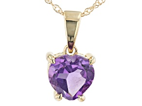 Purple African Amethyst 10k Yellow Gold Pendant With Chain .55ct