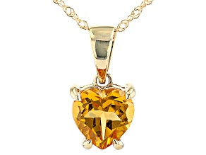 Yellow Citrine 10k Yellow Gold Pendant With Chain  .60ct