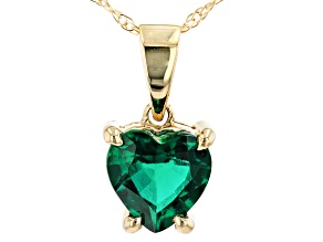 Green Lab Created Emerald 10k Yellow Gold Pendant With Chain .50ct