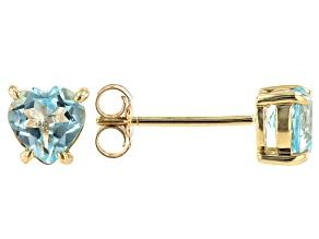 Sky Blue Topaz 10k Yellow Gold Stud Earrings 1.50ctw