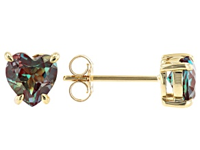 Blue Lab Created Alexandrite 10k Yellow Gold Stud Earrings 1.50ctw