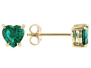 Green Lab Created Emerald 10k Yellow Gold Stud Earrings .57ctw