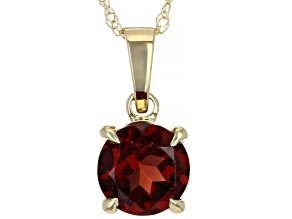 Red Garnet 10k Yellow Gold Pendant With Chain 0.88ct