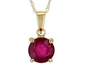 Red Mahaleo® Ruby 10k Yellow Gold Pendant With Chain 0.90ct