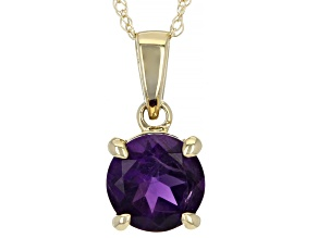 Purple Amethyst 10k Yellow Gold Pendant With Chain 0.58ct