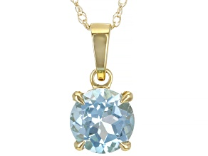 Sky Blue Topaz 10k Yellow Gold Pendant With Chain 0.80ct