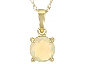 Multicolor Opal 10k Yellow Gold Pendant With Chain 6mm