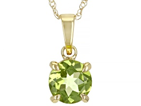 Green Manchurian Peridot™ 10k Yellow Gold Pendant With Chain 0.80ct