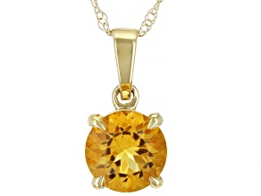 Yellow Citrine 10k Yellow Gold Pendant With Chain 0.60ct