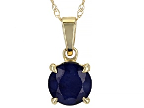 Blue Sapphire 10k Yellow Gold Pendant With Chain 0.96ct
