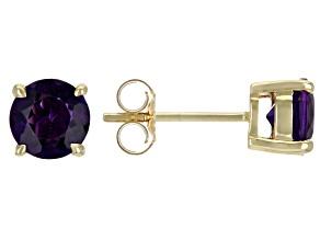 Purple Amethyst 10k Yellow Gold Stud Earrings 1.22ctw