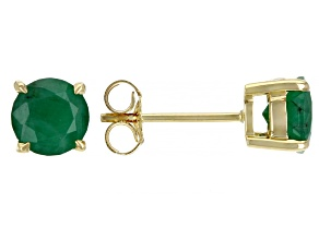 Green Emerald 10k Yellow Gold Stud Earrings 0.60ctw