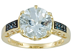 3.20ctw Aquamarine Round With Blue Diamond Accent Round 10k Yellow Gold Ring