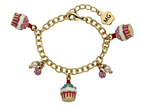 Molly Glitz Crystal & Freshwater Pearl 14k Yellow Gold Over Brass Child's Cupcake Bracelet