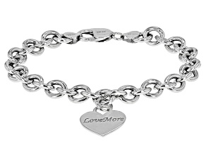 Rhodium Over Sterling Silver Heart Bracelet inch