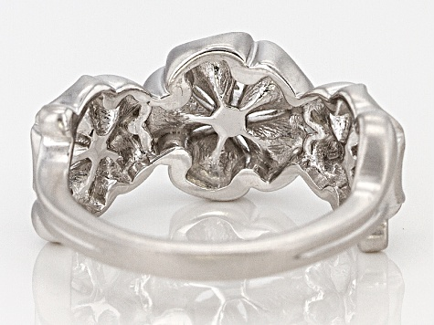 Rhodium Over Sterling Silver Floral Ring