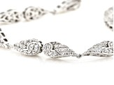 White Cubic Zirconia Rhodium Over Sterling Silver Angel Wing Bracelet 3.30ctw