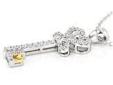 White Cubic Zirconia Rhodium & 18k Yellow Gold Over Silver Key Pendant With Chain