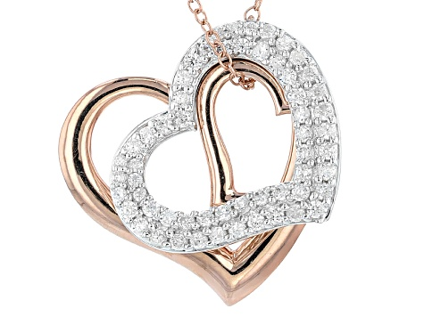 White Cubic Zirconia Rhodium & 18k Rose Gold Over Sterling Siver Necklace 1.52ctw