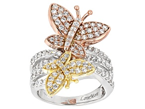 White Cubic Zirconia Rhodium & 18k Yellow/Rose Gold Over Silver Butterfly Ring
