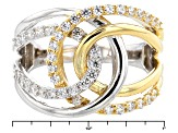 White Cubic Zirconia Rhodium & 18k Yellow Gold Over Sterling Silver Ring 1.23ctw