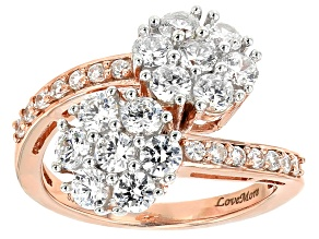 White Cubic Zirconia 18k Rose Gold Over Sterling Silver Ring 3.13ctw