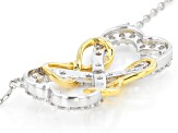 White Cubic Zirconia Rhodium & 18k Yellow Gold Over Silver Heart Necklace 1.02ctw