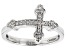 White Cubic Zirconia Rhodium Over Sterling Silver Cross Ring .23ctw